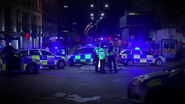 further tribues paid to victiums / survivors speak out 462017 london bridge london bridge attack aftermath police and ambulances on london bridge - violence stock videos & royalty-free footage