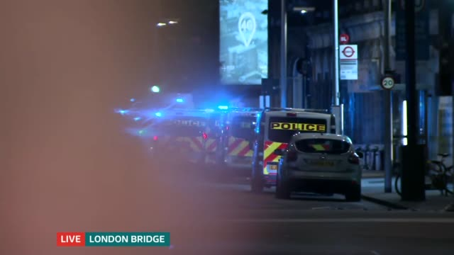 itv news special 0010 0050 england london gir lucrezia millarini 'breaking news' introduction sot london bridge ext / night ambulances and police... - stag night stock videos & royalty-free footage