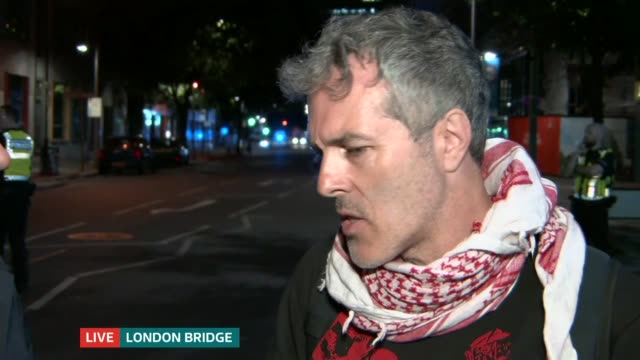 ITV News Special 0010 0050 London Bridge Police vehicles at scene Angus Walker to camera SOT Neil interview SOT Angus Walker to camera SOT London GIR...