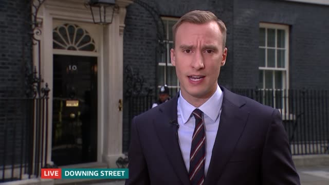 ITV News Special 0825 0925 GIR / Downing Street Julie Etchingham / Paul Brand SOT Downing Street EXT Paul Brand to camera SOT CUTAWAYS flag at...