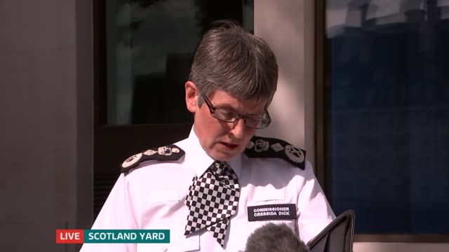 itv news special 0925 1000 scotland yard commissioner cressida dick speaking to press sot thank you for coming / last night we saw another appalling... - itv news at one stock videos & royalty-free footage