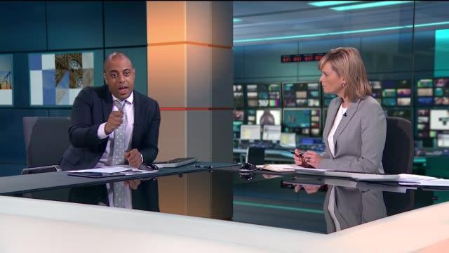news special 09:25 - 10:00; studio julie etchingham and rohit kachroo - julie etchingham stock videos & royalty-free footage