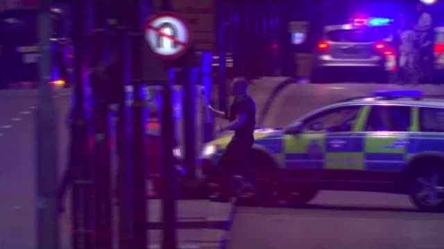 one french person and one canadian amongst victims england london london bridge ambulances with flashing lights and sirens along to scene of... - siren stock videos and b-roll footage