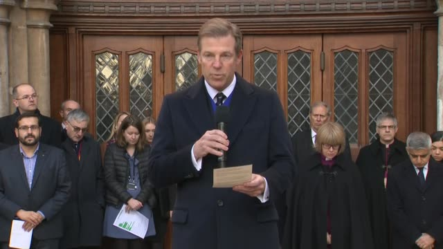 politicians attend city of london vigil england london city of london guildhall yard ext william russell speech at vigil for victims of 2019 london... - lord mayor of london city of london stock videos & royalty-free footage