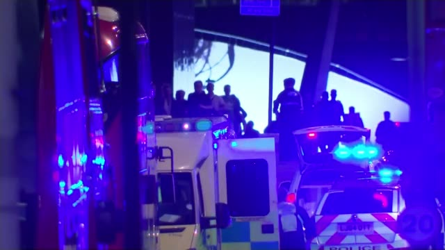 seven killed and 48 injured; england: london: london bridge: ext / night police and other emergency service outside london bridge station police... - terrorism stock videos & royalty-free footage