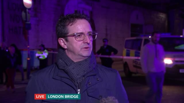 london bridge attack: two people killed and several stabbed; england: london: ext at night julio marquez and henry lukwayi live interviews sot. - london bridge england stock videos & royalty-free footage