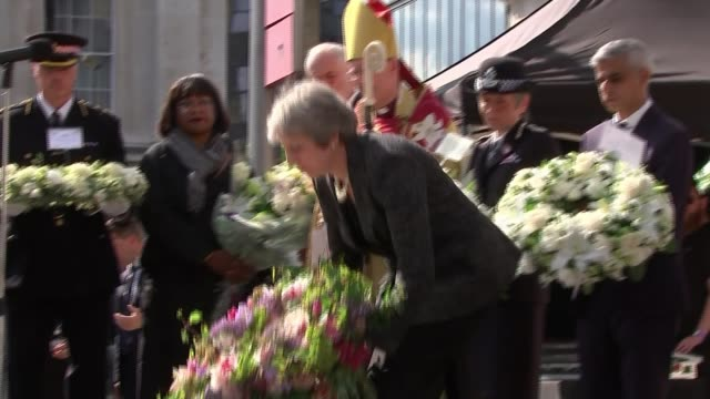 Victims remembered on first anniversary of attack ENGLAND London London Bridge EXT Politicians and religious leaders including Theresa May MP and...