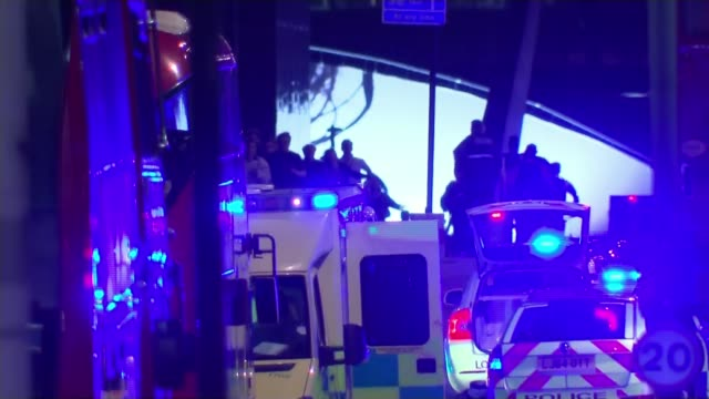 victims remembered on first anniversary of attack t04061703 / 462017 england london london bridge police officers and emergency services vehicles on... - terrorism stock videos & royalty-free footage