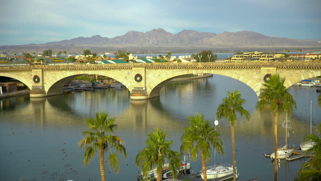 london bridge relocated and rebuilt from england arizona - bridge built structure stock videos & royalty-free footage