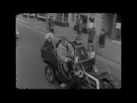 1968 england london hyde park engine flywheel spun no plate 'a6' cms lamps shaking on car as lr ms cars off towards at start bv cars away ms one lr... - wisconsin stock videos & royalty-free footage