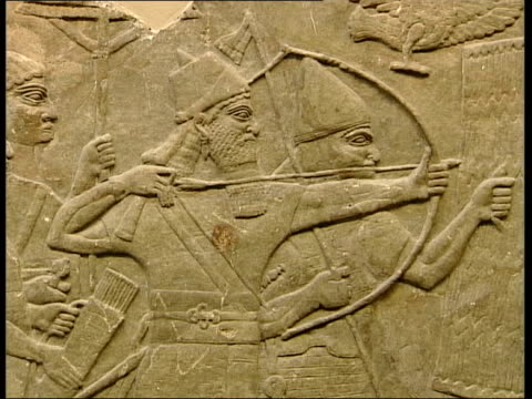 london british museum ms assyrian wall sculptures of warriors - sculpture stock videos & royalty-free footage