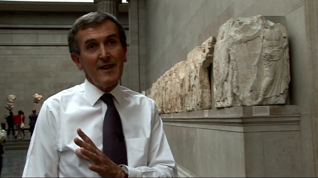 british museum: int neil macgregor interview sot - in london you can see them as part of a whole world story - important that they be in two places - neil macgregor stock videos & royalty-free footage