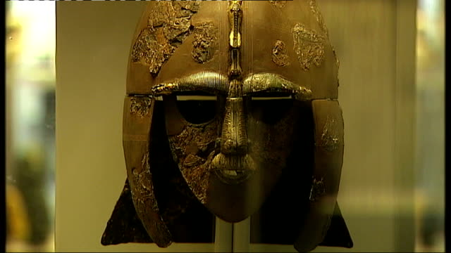british museum: various of sutton hoo exhibition location unknown: press taking photographs of hoard discovered in stafforshire field close up of... - british museum stock videos & royalty-free footage