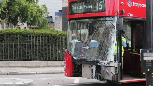 london bus with a smashed windscreen after it ran into the back of another vehicle, london, uk. - glass material stock videos & royalty-free footage