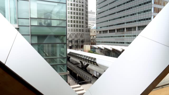 london canary wharf adams plaza - footbridge stock videos & royalty-free footage