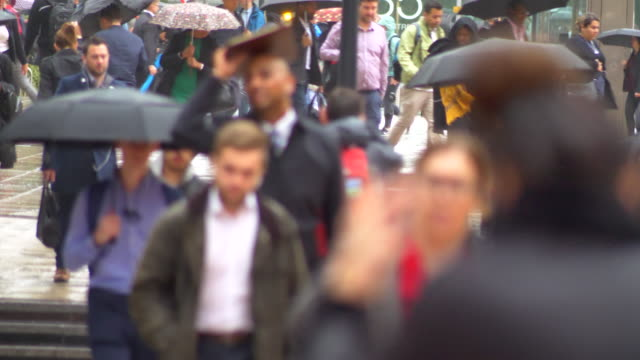 london canary wharf rainy crowd with umbrellas hurry to work zoom lens - umbrella stock videos & royalty-free footage