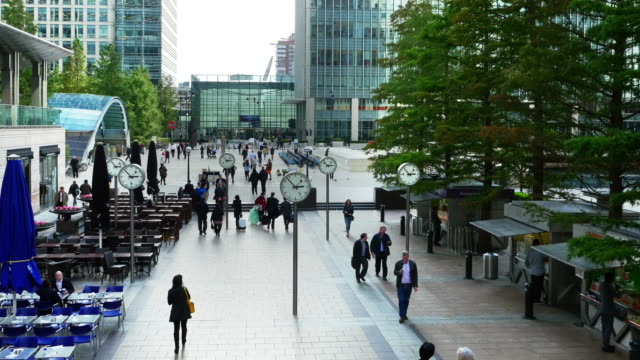 london canary wharf reuters plaza - courtyard stock videos & royalty-free footage