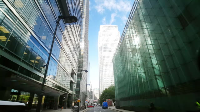 london canary wharf south colonnade and canada square - tracking shot stock videos & royalty-free footage