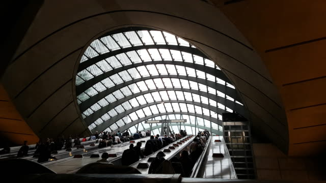 london canary wharf tube station - subway station stock videos & royalty-free footage