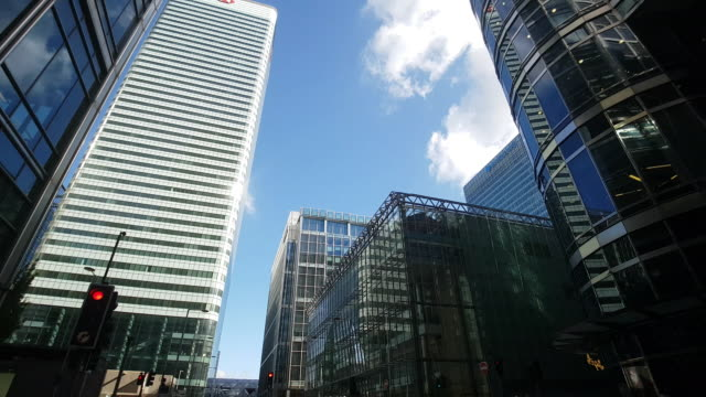 london canary wharf upper bank street - canary wharf stock videos & royalty-free footage