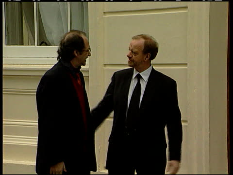 carlton gardens ext dr ibrahim rugova greeting robin cook mp during visit to london and both enter building dr ibrahim rugova interview sot i am... - diplomacy stock videos and b-roll footage