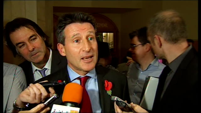 london chosen to host 2017 world athletics championships lord coe speaking to press sot we have the world's third largest sporting event we have the... - championships stock videos & royalty-free footage