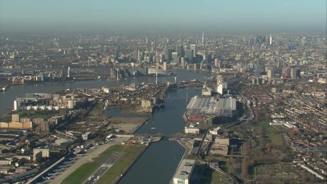 london city airport / parliament aerials air views london city airport / george v dock / royal navy bomb disposal van / gvs members of royal navy in... - disposal stock videos and b-roll footage