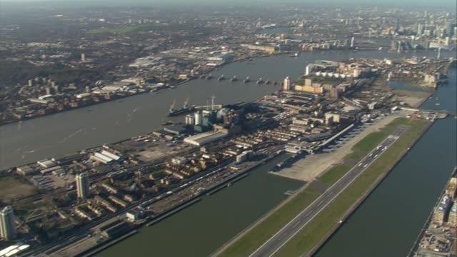 London City Airport / Parliament aerials AIR VIEWS London City Airport / George V Dock / Royal Navy Bomb Disposal van / GVs members of Royal Navy in...