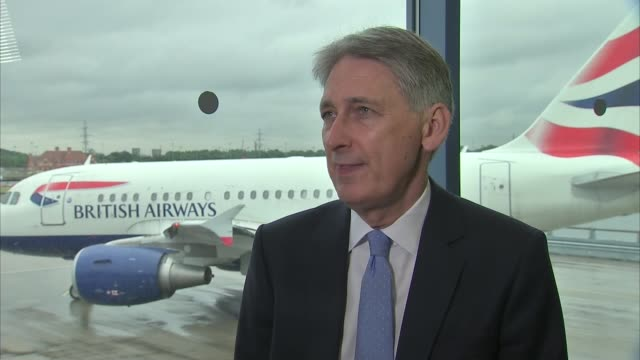london city airport set for expansion england london london city airport int philip hammond mp interview sot positive for local economy in east... - itv london lunchtime news点の映像素材/bロール