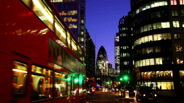 t/l london city and the gherkin skyscraper night view - swiss re stock videos & royalty-free footage