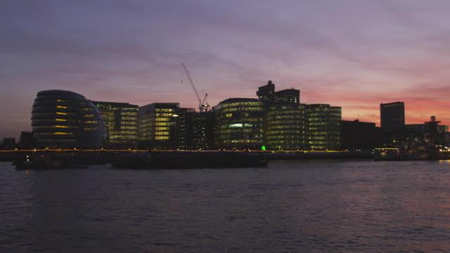 WS PAN London City Hall and skyline at sunset, London, United Kingdom