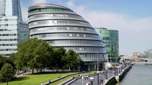 london city hall and the queen's walk - gla building stock videos & royalty-free footage