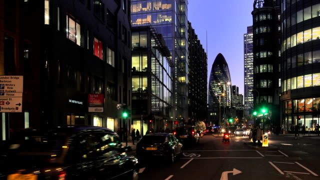 london city night view from the north - sir norman foster building stock videos & royalty-free footage