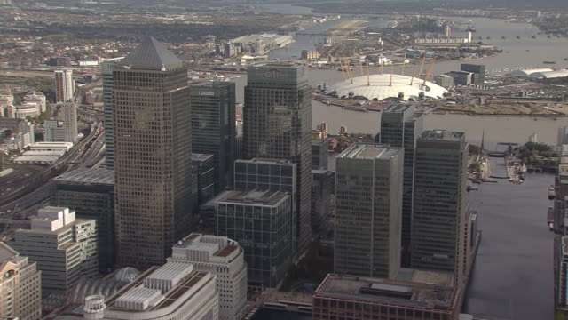 london city overview by helicopter - the o2 england stock videos & royalty-free footage