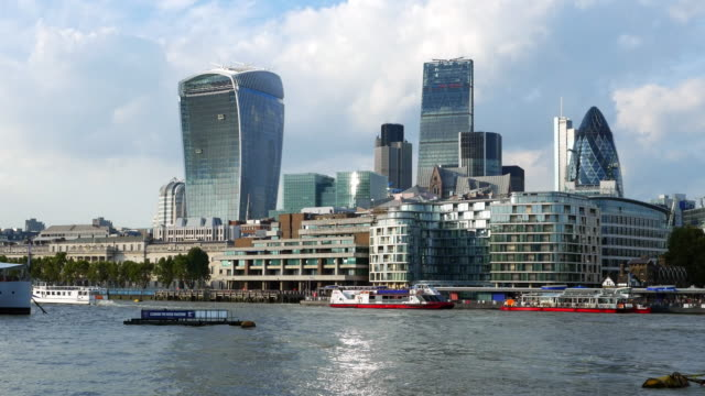 london city riverside and skyscrapers - 2014 stock videos & royalty-free footage