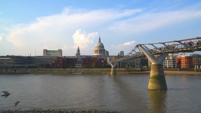 london city with st. paul's cathedral in united kingdom - footbridge stock videos & royalty-free footage