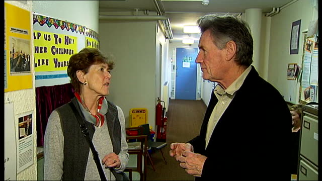 clerkenwell: michael palin centre for stammering children: int michael palin interview sot - support for treatment of stammering in children - マイケル パリン点の映像素材/bロール