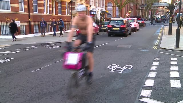 london commuter cycles shirtless to raise money for charity england london graham hardman along on bike graham hardman away - semi dress stock videos & royalty-free footage