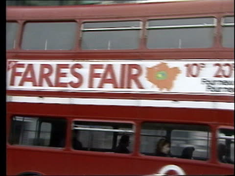 london congestion charging plans lib livingstone posing with large ticket after losing fight over 'fare's fair' policy lib 'fare's fair' poster on... - circus poster stock videos & royalty-free footage