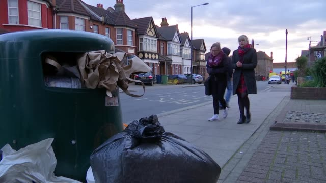 London councils receive 100 complaints a day about rats and mice Harrow Caren Duhig along with reporter Close shot of rubbish dumped in street Caren...