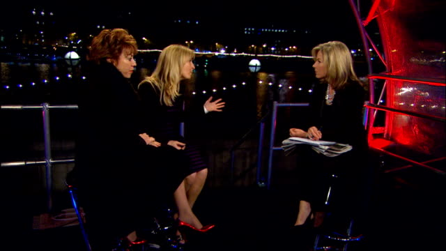 county hall ext / night itn presenter mary nightingale interviewing fiona phillips and kathy lette about the leaders' debates how difficult it is to... - kathy lette stock videos & royalty-free footage