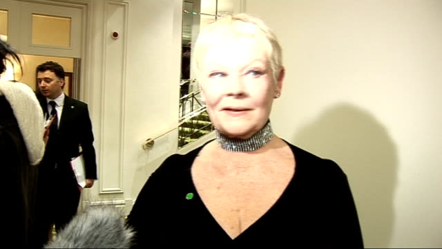 london critics' circle film awards 2009: celebrity interviews; dame judi dench interview sot - on winning lifetime achievement award / reading... - ジュディ・デンチ点の映像素材/bロール