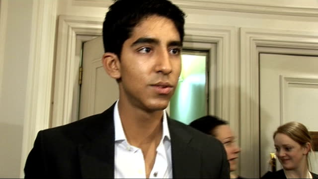 london critics' circle film awards 2009: celebrity interviews; dev patel interview sot - attending many award shows / pleasure to be nominated /... - film award type stock videos & royalty-free footage