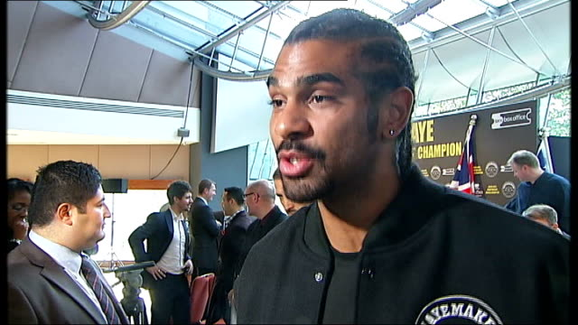 david haye interview showing his broken right hand sot unidentified market outside shopping centre london south bank university entrance and sign vox... - david haye stock videos and b-roll footage