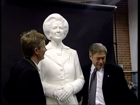 london deptford int seq marble statue of former prime minister baroness thatcher unveiled by tony banks mp in studio of sculptor neil simmons in... - bust sculpture stock videos and b-roll footage