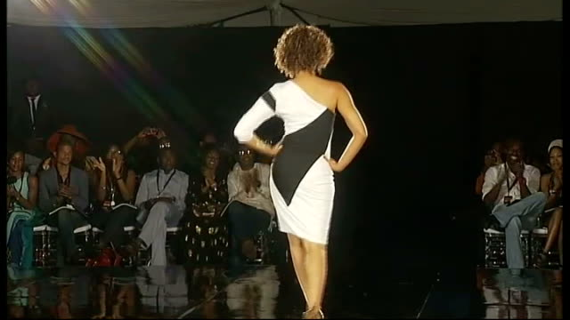 london designers take part in lagos fashion show * * music overlay sot * * olaye along on catwalk next models at end of show model away on catwalk... - fashion show stock videos & royalty-free footage