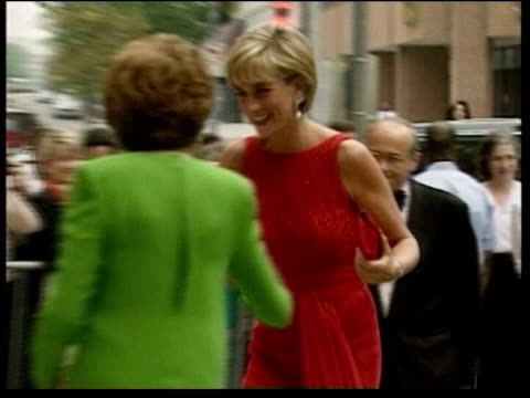 london: diana arriving at event in red sparkly dress - dress stock videos & royalty-free footage