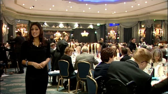dorchester hotel: lois harden receiving award at ceremony reporter to camera lois harden and others posing for photocall lois harden interviewed... - dorchester hotel stock videos & royalty-free footage