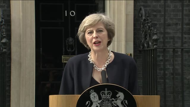 london downing street ext cars arriving / theresa may mp and husband philip may out of car and along downing street / theresa may mp speech sot i... - david bond stock videos & royalty-free footage