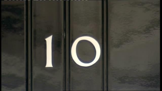 london downing street ext general views number 10 front door and windows - gesamtansicht stock-videos und b-roll-filmmaterial